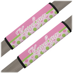 Pink & Green Dots Seat Belt Covers (Set of 2) (Personalized)