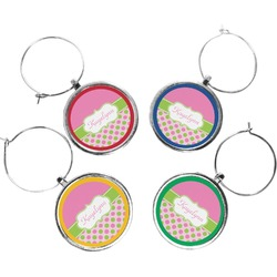 Pink & Green Dots Wine Charms (Set of 4) (Personalized)