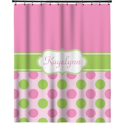 """Pink & Green Dots Extra Long Shower Curtain - 70""""x84"""" (Personalized)"""