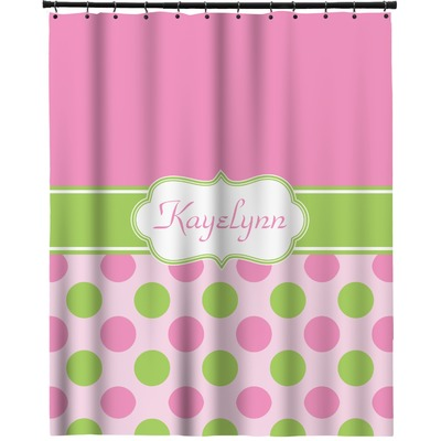 Pink Green Dots Extra Long Shower Curtain 70 X90 Personalized Youcustomizeit