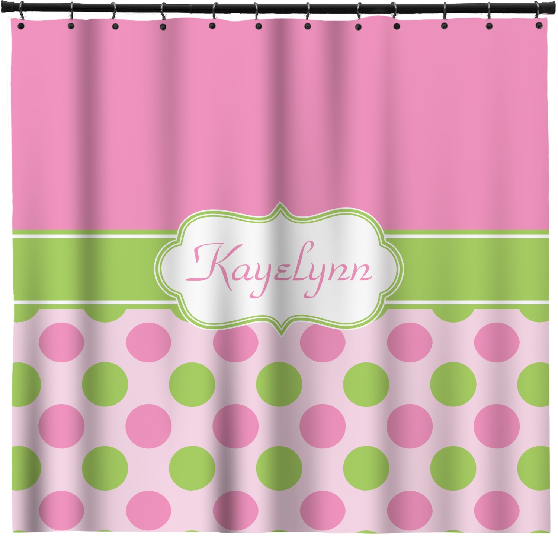 Pink Green Dots Shower Curtain