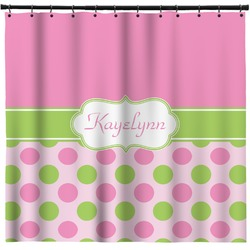 Pink & Green Dots Shower Curtain (Personalized)