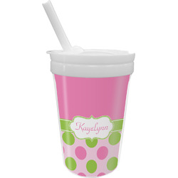 Pink & Green Dots Sippy Cup with Straw (Personalized)