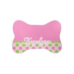 Pink & Green Dots Bone Shaped Dog Food Mat (Small) (Personalized)