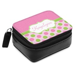 Pink & Green Dots Small Leatherette Travel Pill Case (Personalized)