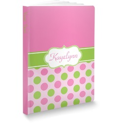 """Pink & Green Dots Softbound Notebook - 5.75"""" x 8"""" (Personalized)"""