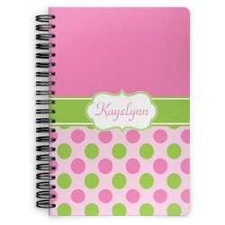Pink & Green Dots Spiral Notebook (Personalized)