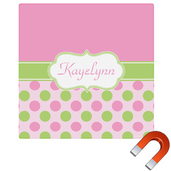 Pink & Green Dots Square Car Magnet (Personalized)
