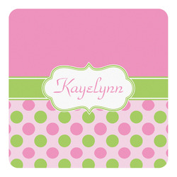 Pink & Green Dots Square Decal - Large (Personalized)