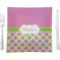 "Pink & Green Dots 9.5"" Glass Square Lunch / Dinner Plate- Single or Set of 4 (Personalized)"