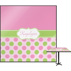 """Pink & Green Dots Square Table Top - 24"""" (Personalized)"""