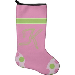 Pink & Green Dots Christmas Stocking - Neoprene (Personalized)