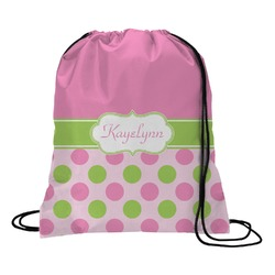 Pink & Green Dots Drawstring Backpack (Personalized)