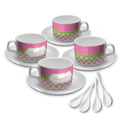 Pink & Green Dots Tea Cup - Set of 4 (Personalized)