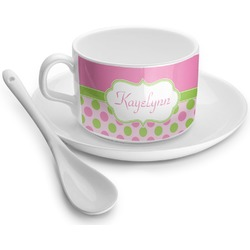Pink & Green Dots Tea Cup - Single (Personalized)
