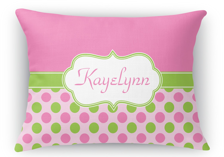 Fantastic Pink Green Dots Rectangular Throw Pillow Case Personalized Machost Co Dining Chair Design Ideas Machostcouk