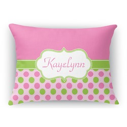 Pink & Green Dots Rectangular Throw Pillow Case (Personalized)