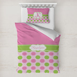 Pink & Green Dots Toddler Bedding w/ Name or Text