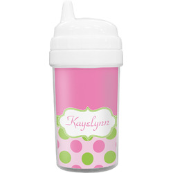 Pink & Green Dots Sippy Cup (Personalized)