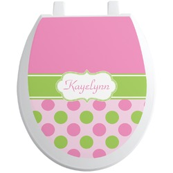 Pink & Green Dots Toilet Seat Decal (Personalized)
