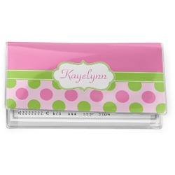 Pink & Green Dots Vinyl Checkbook Cover (Personalized)