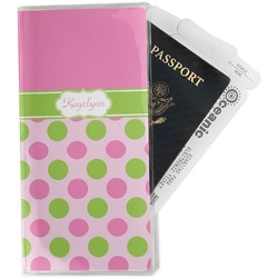 Pink & Green Dots Travel Document Holder