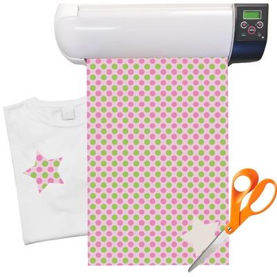 """Pink & Green Dots Heat Transfer Vinyl Sheet (12""""x18"""")"""