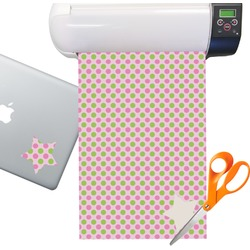 Pink & Green Dots Sticker Vinyl Sheet (Permanent)