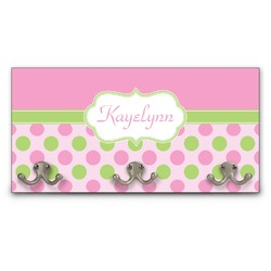 Pink & Green Dots Wall Mounted Coat Rack (Personalized)
