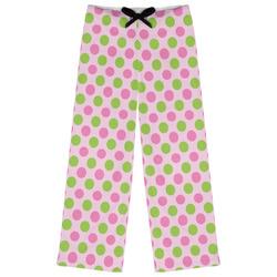 Pink & Green Dots Womens Pajama Pants (Personalized)