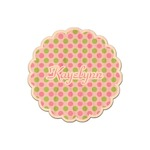 Pink & Green Dots Genuine Maple or Cherry Wood Sticker (Personalized)