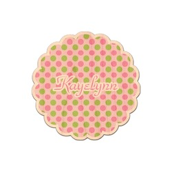 Pink & Green Dots Genuine Wood Sticker (Personalized)