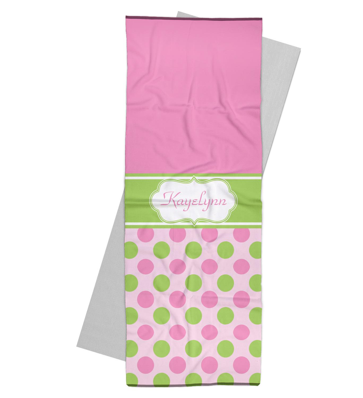 Pink & Green Dots Yoga Mat Towel (Personalized