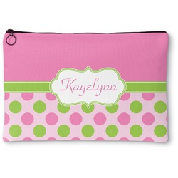 Pink & Green Dots Zipper Pouch (Personalized)