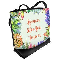 Succulents Beach Tote Bag (Personalized)