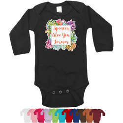 Succulents Bodysuit - Black (Personalized)