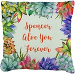 Succulents Faux-Linen Throw Pillow (Personalized)