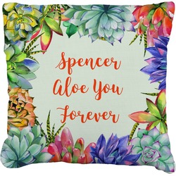 Succulents Faux-Linen Throw Pillow (Personalized)
