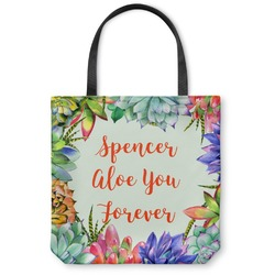 """Succulents Canvas Tote Bag - Large - 18""""x18"""" (Personalized)"""