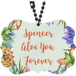 Succulents Rear View Mirror Charm (Personalized)