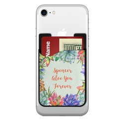 Succulents Cell Phone Credit Card Holder (Personalized)