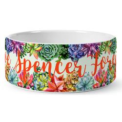 Succulents Ceramic Pet Bowl (Personalized)
