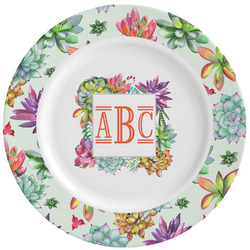 Succulents Ceramic Dinner Plates (Set of 4) (Personalized)