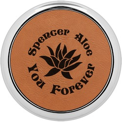Succulents Leatherette Round Coaster w/ Silver Edge - Single or Set (Personalized)