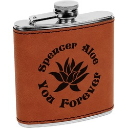 Succulents Leatherette Wrapped Stainless Steel Flask (Personalized)