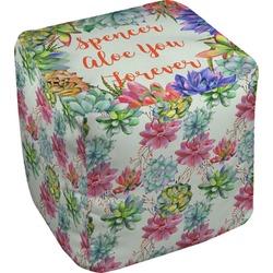 Succulents Cube Pouf Ottoman (Personalized)