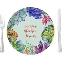 """Succulents 10"""" Glass Lunch / Dinner Plates - Single or Set (Personalized)"""