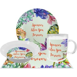Succulents Dinner Set - 4 Pc (Personalized)