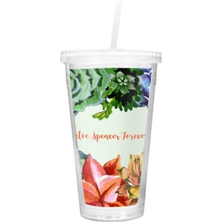 Succulents Double Wall Tumbler with Straw (Personalized)