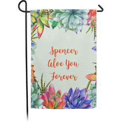 Succulents Single Sided Garden Flag With Pole (Personalized)